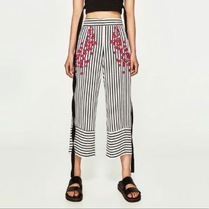 NWT [Zara] Striped Culottes W/Cherry Blossoms
